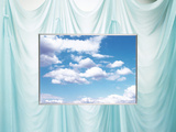 Cloudy Sky on Curtain Folds Background Photographic Print by Green Light Collection