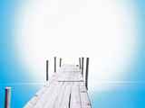 Wooden Boardwalk with Shiny Background Photographic Print by Green Light Collection
