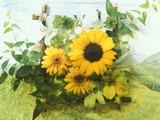 Sun Flowers And Green Vine Bouquet with Green Mountain Tops Photographic Print by Green Light Collection
