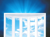 Window And Cloudy Sky on Deep Blue Shiny Background Photographic Print by Green Light Collection