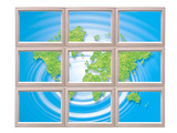 World Map Over Blue Water Ripples Photographic Print by Green Light Collection