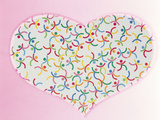 Heart Filled with Multicolored Dancing Stick Figures on Pink Background Photographic Print by Green Light Collection