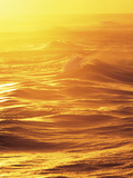 Sea Waves at Dusk in Golden Photographic Print by Green Light Collection