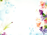 Colorful Flowers And Bubbles on Shiny Light Blue Background Photographic Print by Green Light Collection