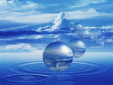 Clear Spheres with Reflected Clouds, Sky And Water Rings in Center Floating Above Water Photographic Print by Green Light Collection
