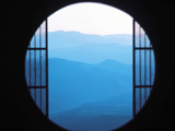 View of Hazy Blue Mountain Ranges Photographic Print by Green Light Collection