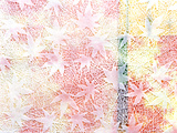 White Leaves Embossed on Pink, Yellow And Blue Fabric Photographic Print by Green Light Collection