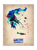 Greece Watercolor Poster Plakater af NaxArt