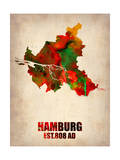 Hamburg Watercolor Map Poster by  NaxArt