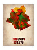 Brussels Watercolor Map Prints by  NaxArt