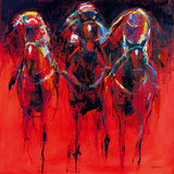 Racehorses - Red Giclee Print by Neil Helyard