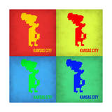 KansasCity Pop Art Map 1 Premium Giclee Print by  NaxArt
