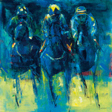 Racehorses - Blue Giclee Print by Neil Helyard