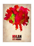 Milan Watercolor Map Prints by  NaxArt