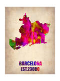 Barcelona Watercolor Map Posters by  NaxArt