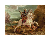 St. George Slaying The Dragon Premium Giclee Print by Hans von Aachen