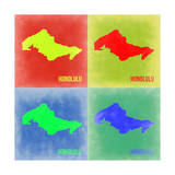 Honolulu Pop Art Map 2 Print by  NaxArt