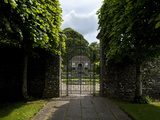 Pollarded Lime Tree Walk Leading To the Sunken Garden Via Ornate Wrought Irin Gates Photographic Print by Green Light Collection