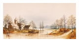 River Hamlet Premium Giclee Print by Ron Folland