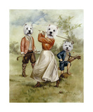 Family Golf Team Premium Giclee Print by Thierry Poncelet