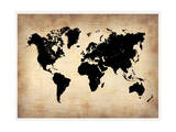 Vintage World Map Prints by  NaxArt