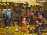 Feeding the Chickens Premium Giclee Print by Arthur Elsley