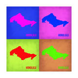 Honolulu Pop Art Map 1 Prints by  NaxArt