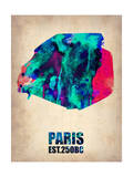 Paris Watercolor Map Poster by  NaxArt