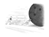 Sisyphus pushes a giant bowling ball. - New Yorker Cartoon Premium Giclee Print by Mort Gerberg