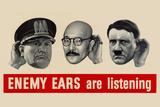 Enemy Ears Are Listening WWII War Propaganda Plastic Sign Znaki plastikowe