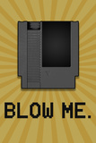 8-Bit Video Game Cartridge Blow Me Plastic Sign Targa in plastica
