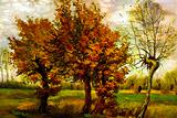 Vincent Van Gogh Autumn Landscape with Four Trees Plastic Sign Placa de plástico