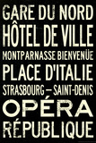 Paris Metro Stations Vintage RetroMetro Travel Plastic Sign Wall Sign
