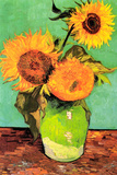 Vincent Van Gogh Three Sunflowers in a Vase 2 Plastic Sign Placa de plástico