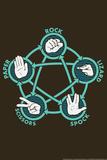 Rock Paper Scissors Lizard Spock Snorg Tees Plastic Sign Cartel de plástico por  Snorg