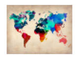 Pixelated World Map Prints by  NaxArt