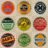 Pop Bottletops I Print by  The Vintage Collection