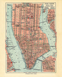Vintage New York Map Giclee Print by  The Vintage Collection