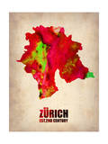 Zurich Watercolor Poster Poster by  NaxArt