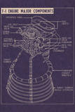 Saturn V F1 Engine General Layout High Quality Educational Poster Prints