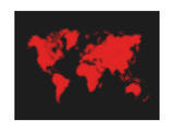 Dotted Red World Map Print by  NaxArt