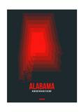 Alabama Radiant Map 4 Posters by  NaxArt