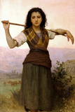 William-Adolphe Bouguereau The Shepherdess Plastic Sign Plastic Sign