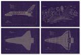 Space Shuttle Blueprint Set (4 Sheets) High Quality Educational Poster Posters