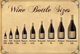 Wine Bottle Size Chart Plastic Sign Wall Sign
