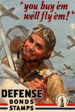 You Buy Em We'll Fly Em Defense Bonds Stamps WWII War Propaganda Plastic Sign Plastové cedule