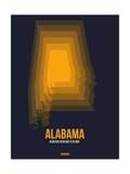 Alabama Radiant Map 5 Print by  NaxArt