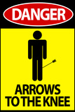 Danger - Arrows To The Knee Video Game Plastic Sign Plastic Sign