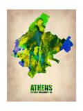 Athens Watercolor Poster Plakater af NaxArt