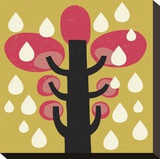 Rain Falls on a Pink Tree Stretched Canvas Print by Tracy Walker
